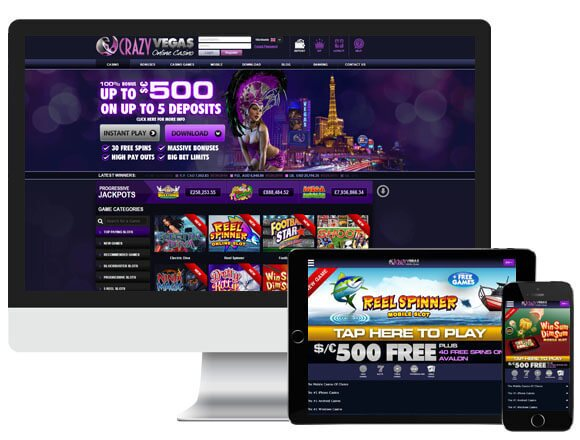 Image of crazy Vegas Casino on Multiple Platforms